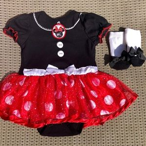 Minnie Mouse Skirted Onesie and Socks Set